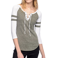 Almost Famous Olive & White Lace Up Baseball T-Shirt