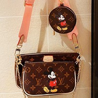 Samplefine2 LV Mickey Series Three-piece Mickey Mouse Bag Key Case Coin Purse-Capacity Mahjong Bag Woven Shoulder Strap
