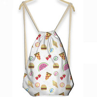 Summer Food Print Drawstring Bag Backpack
