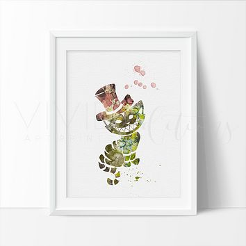 Cheshire Cat 2, Alice in Wonderland Watercolor Art Print