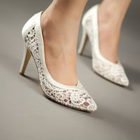cutout satin fabric high heel sexy lace wedding shoes shallow mouth pointed toe genuine leather bride pumps = 1930010820