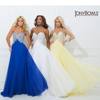 (PRE-ORDER) Tony Bowls 2014 Prom Dresses - Yellow Chiffon & Beaded Strapless Prom Gown