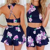 Purple Aves Two Piece Romper