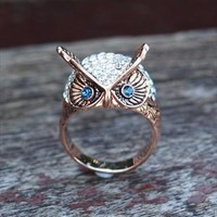 Blue Eye Owl with Rhinestone Ring Rose gold from topsales