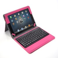 Lumsing Hot Pink Premium New Wireless Bluetooth Keyboard Folio PU Leather Case Cover Magnetic Smart Stand for iPad 2 New Apple iPad 3 3rd Gen & Ipad 4 Gen