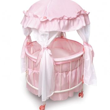 Badger Basket Royal Pavilion Round Doll Crib with Canopy and Bedding (fits Ameri