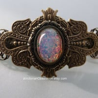 Handcrafted Victorian Antique gold irridescent pink  barrette hair clip