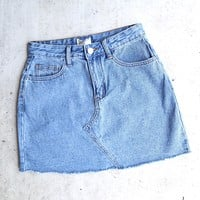 raw hem denim skirt - medium wash