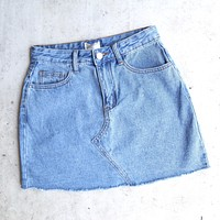 Raw Hem Denim Skirt in Medium Wash