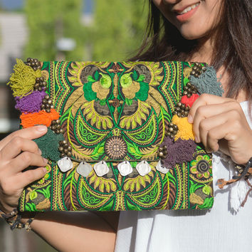 Handmade Ipad Cover Bag with Hmong Embroidered in Green