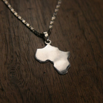 Africa Sterling Silver Pendant Necklace - Sterling Silver 925