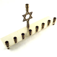 Vintage Menorah Hanukkah Menorah 9 Brass Bronze Chanuk Candle Holder, Jerusalem Hebrew Star Emblem