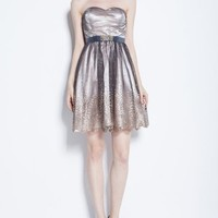 Beautifly Strapless Mini Gauze Champagne Prom Cocktial Birdesmaid Party Dress