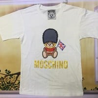 "Moschino White ""English Police Bear"" Fashion Women T Shirt"