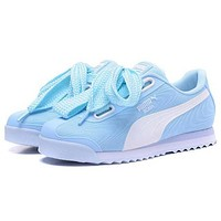 """Hot Sale """"PUMA"""" Roma TK Graphic Popular Women Comfortable Bow Running Sport Shoes Sneakers Light Blue I/A"""