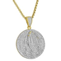 Praying Hands Round Pendant Coin  Simulated Diamond 18K Gold Plate Chain
