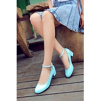 Pointed Toe Women Pumps High Heels Ankle Straps Thick Heeled Shoes Woman