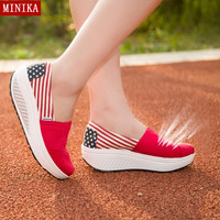 New 2016 Color block Light weight Comfortabale Women Shoes Quality Canvas shoes Women's Platform Wedge Casual Footwear