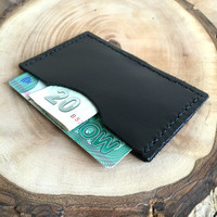Black Genuine Leather Card Case,Leather Card Holder,Minimalist Card Case,Boho Wallet,Small Wallet,Leather Wallet,Leather Case,gift for him