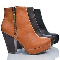 Huxley06 by Bamboo, Almond Toe Zip Up Platform Thick Stacked High Heel Ankle Booties