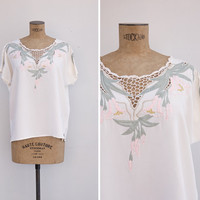 1980s Top - Vintage 80s Cutwork & Embroidered Blouse - Island Of Gods Top