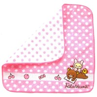 Pink Polka Dotted Embroidered Rilakkuma Bear Handkerchief Face Towel | Japan