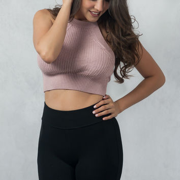 Knitted Crop Top - Pink