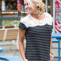 Stripes and lace Top ~ black FINAL SALE