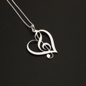 Heart Clef G clef heart Necklace silver music note Treble clef Pendant charm necklace music note necklace Sterling Silver Gift