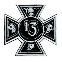 Number 13 Iron Cross Skull Patch Iron On Applique Alternative Clothing