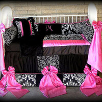 Custom Made Baby n Toddler Bedding Black n White Damask n Polka Dots Hot Pink Satin Bows n Trim
