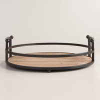 Wood and Antiqued Bronzed Round Serving Tray