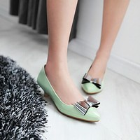 Pointed Toe Bow Women Pumps Low Heeled Shoes 5290
