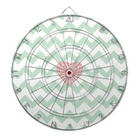 Mint Green & White Chevron with Pink Swirly Heart Dartboard With Darts from Zazzle.com