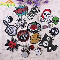 IRON-ON PATCHES (1 Pc) Kid's Skull Punk Biker Patch Embroidered