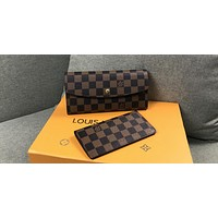 LV Tide brand women's casual wild long flip cover buckle wallet two-piece coffee check
