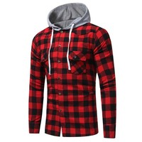 2017 Autumn Men's Fashion Hooded Button Down Long Sleeve Casual Plaid Check Slim Fit Shirt Blusas Blouse Tops Chemise