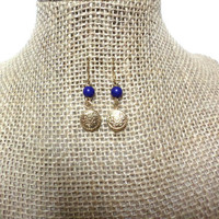 Gold Round Floral Circle Disc Royal Blue Bead Hook Drop Dangle Earrings, gift