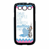 Olaf Quote Melting The Disney Frozen Pink Blue Chevron Samsung Galaxy S3 Case
