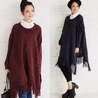Oversized Loose Fit Fringe Pullover Knit Sweater