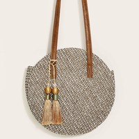 Tassel Fringe Hem Decor Round Bag