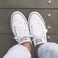 Converse Fashion Canvas Flats Sneakers Sport Shoes White