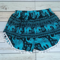 Blue Pom pom Short Elephants Unique Boho Print Summer Beach Chic Fashion Trim Tribal Aztec Ethnic Clothing Bohemian Ikat Cloth Hobo Cute