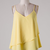 Ruffle Tank Top - Yellow