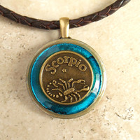 Scorpio Necklace: Blue - Mens Necklace - Mens Jewelry - Astrology - Boyfriend Gift - Zodiac - Birthday Gift - Leather Cord - Fathers Day