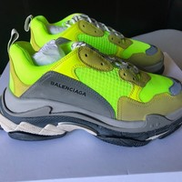 Mens Balenciaga Neon Yellow Triple S Trainer Sneakers Size 42