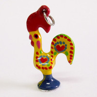 Portugal rooster Barcelos LUCK charm handpainted Yellow made in Portugal pendant folk jewelry