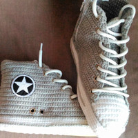 Grey Converse Slippers, Women and Man Converse Shoes, Crochet Grey House Shoes, Grey Converse Chuck Taylor All Star High Top,Custom Converse