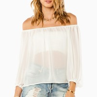 ShopSosie Style : Desirae Off Shoulder Blouse in Ivory
