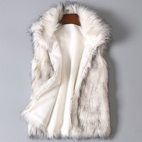 Plus Size Winter Faux Fur Vest for Women Sleeveless Artificial Fur Waistcoat Hairy Coat Female Outerwear Waistcoat Big Size